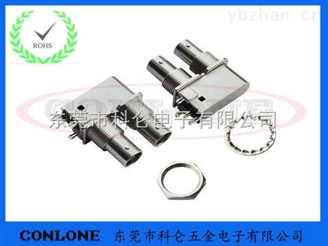 全铜双层bnc母座 印制电路板双联高清bnc射频连接器 bnc射频接头