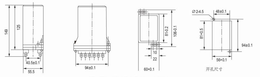三内部接线图及外引接线图 dz-30b采用jk-1壳体,详见下图(板前接线