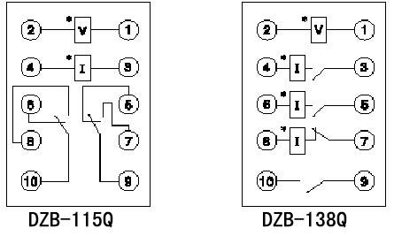 dzb-100q系列继电器内部接线图(背视)