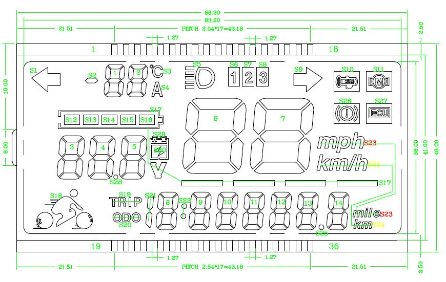现货供应电动车仪表lcd液晶显示屏